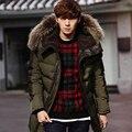 Novo 2016 inverno homens do revestimento de espessura amassado gola de pele casaco de algodão hoodies casaco fino patchwork parkas casual neve quente