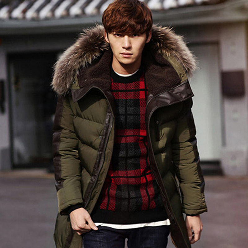 new 2016 winter cotton coat men thickness wadded jacket fur collar hoodies slim patchwork parkas casual warm snow overcoat