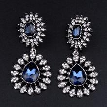 Women  Earrings Dangle Earring Blue Water Drop Crystal Rhinestone Fashion Jewelry pair of charming rhinestone faux crystal water drop earrings for women