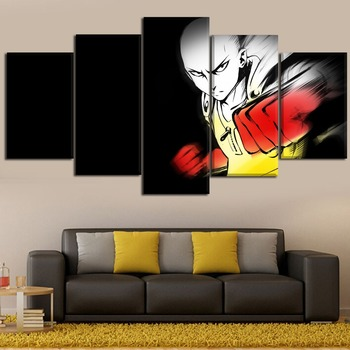 Home Decoration Canvas Art Anime 5 Pieces Paintings One Punch Man Saitama Poster Framework For Unique Modern Wall Art Poster 1