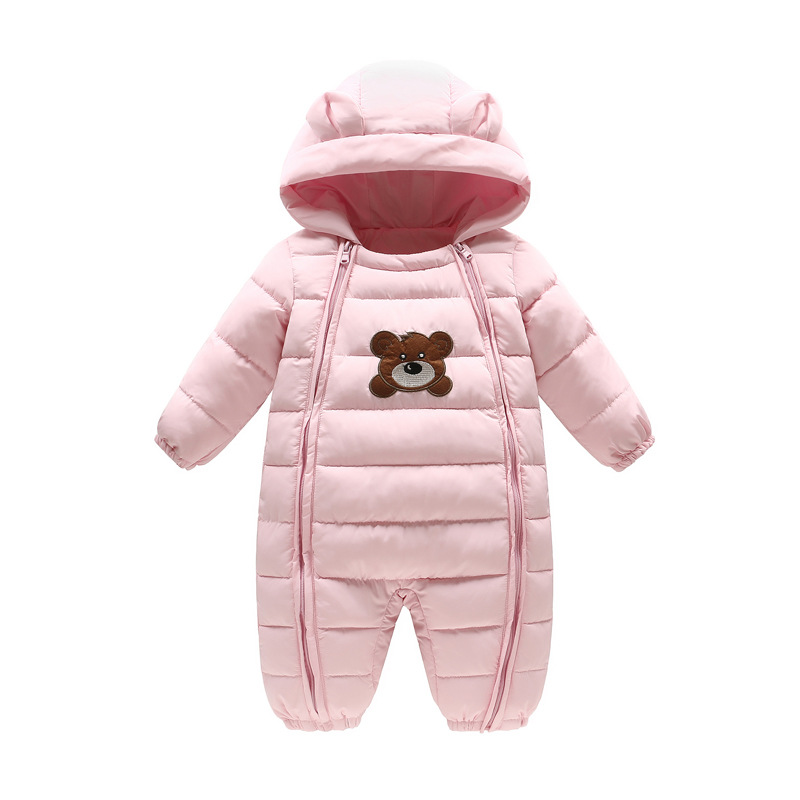 Thick Warm Infant Cartoon Bear Rompers Winter clothes Newborn Baby Boy Girl Romper Jumpsuit Snowsuit Hooded Kids Outerwear 0-18M baby boy super mario cartoon print rompers winter thick infant character costume girls warm clothes baby bebe jumpsuit outerwear