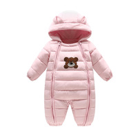 Thick Warm Infant Cartoon Bear Rompers Winter clothes Newborn Baby Boy Girl Romper Jumpsuit Snowsuit Hooded Kids Outerwear 0 18M