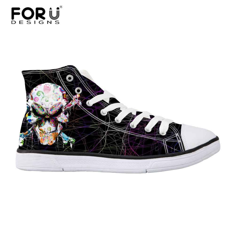 FORUDESIGNS Mäns vulkaniserade skor Classic High Top Teen Boys Flats - Herrskor