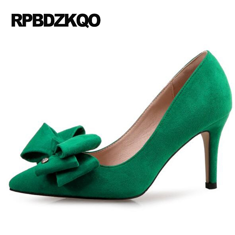 Size 4 34 Japanese Lavender Pointed Toe Bow Footwear 2017 Thin High Heels <font><b>Green</b></font> Dress <font><b>Shoes</b></font> Women 12 44 Suede Plus 10 42 3 Inch