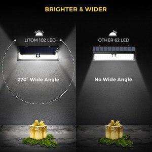 Image 4 - 4 Pack LITOM 102 LED Drahtlose Solar Lichter Outdoor Garten Helle Motion Sensor Sicherheit Lichter Wasserdichte IP65 heißer Luces Solares