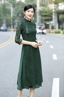 Green lace Vietnam ao dai cheongsam dress