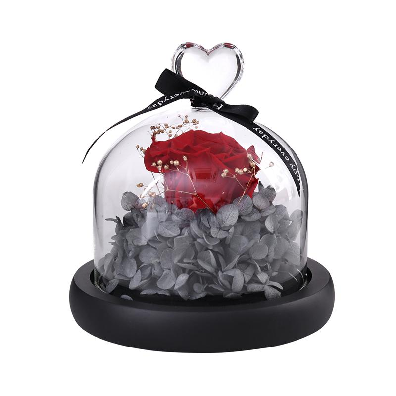 Artificial Rose Flower in Clear Glass Dome for Home Wedding Decor Valentine Birthday Mother's Day Gift