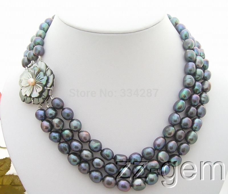 100% Selling Picture full 3Strds Black Baroque Pearl Necklace-Cameo Flower Clasp100% Selling Picture full 3Strds Black Baroque Pearl Necklace-Cameo Flower Clasp