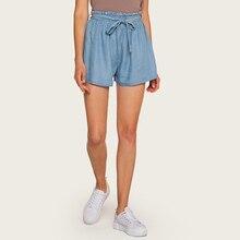 AcFirst Summer Blue Jeans Denim Short Polyester Shorts Women Cinched Belt High Waist Bottom Formal Plus Size