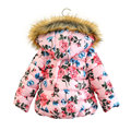 90-130cm kids girls winter coats and jackets 2016 New Brand princess fur hooded flower print warm girls winter clothes outwear