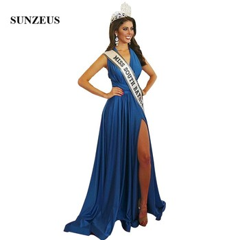 Convertible Straps Evening Party Dresses Long Blue Jersey Miss Red Carapet Dress With Side Slit