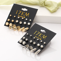 17KM Vintage 9 Pairs/Sets Women Simulated Pearl Earring Sets Jewelry Classic Bead Crystal Stud Earrings Gifts Jewelry