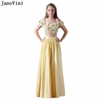 JaneVini Charming A Line Plus Size Yellow Bridesmaid Dresses Satin 3D Flowers Off the Shoulder Two Piece Prom Dress Floor Length