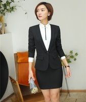 AidenRoy Formal Women Business Suits with Skirt and Jacket Sets Ladies Black Blazer Work Wear Office Uniform Designs Styles