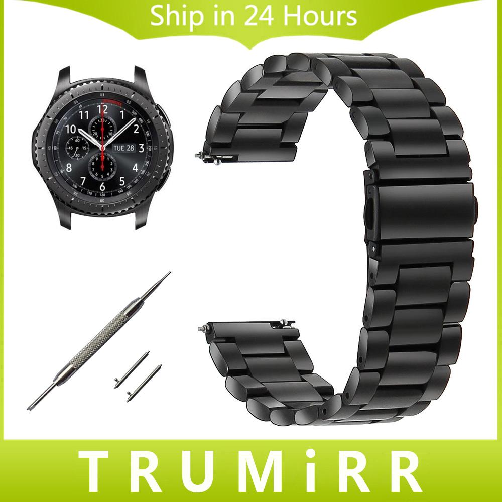 Prix pour 22mm montre en acier inoxydable bande pour samsung gear s3 classique/frontière gramin fenix chronos sangle de dégagement rapide wirst bracelet