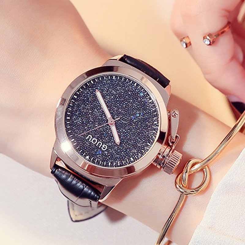 GUOU Montre Femme Luxury Sparkling Diamond Watch Women Watches Leather Strap Ladies Watch Clock Women's Watches saat reloj mujer mance fashion luxury high quality montre femme ladies a bracelet watch metal strap casual watches reloj mujer women clock