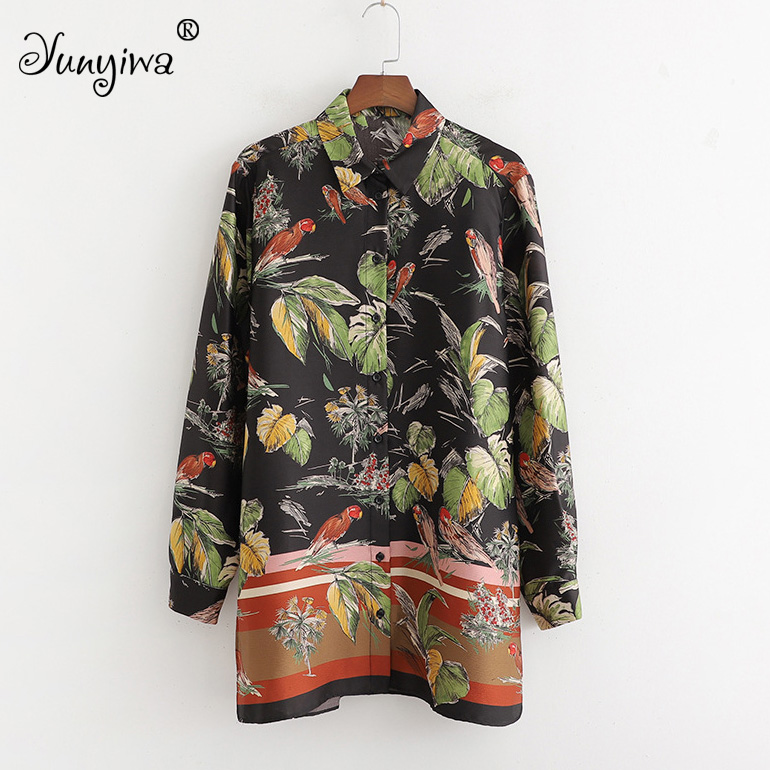 Women   Blouses     Shirts   Women's New Wholesale Flower Print Long Positioning   Shirt   Tops Blusas Mujer De