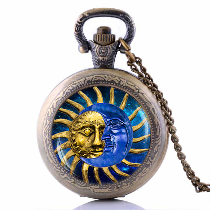 Vintage Unique Sun and Moon Pocket Watch Necklace Boho Jewelry Astrology Collar Price High Quality