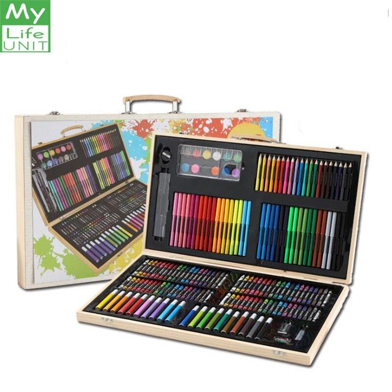 MYLIFEUNIT 180 pièces/ensembles Art dessin ensemble peinture eau couleur stylo cire Crayon huile Pastel dessin pinceau esquisse outils