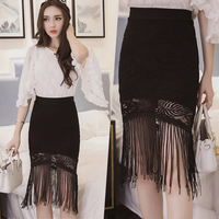 Spring Summer Europe fashion Tassels fishtail skirt black Lace Package hip skirt sexy fashion Gothic Punk woman skirt