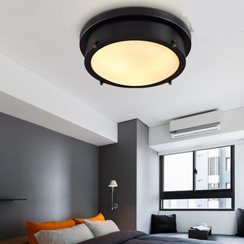 American black round LED ceiling lights living room retro industrial wind study corridor bedroom ceiling lamp ZA620 ZL219 YM