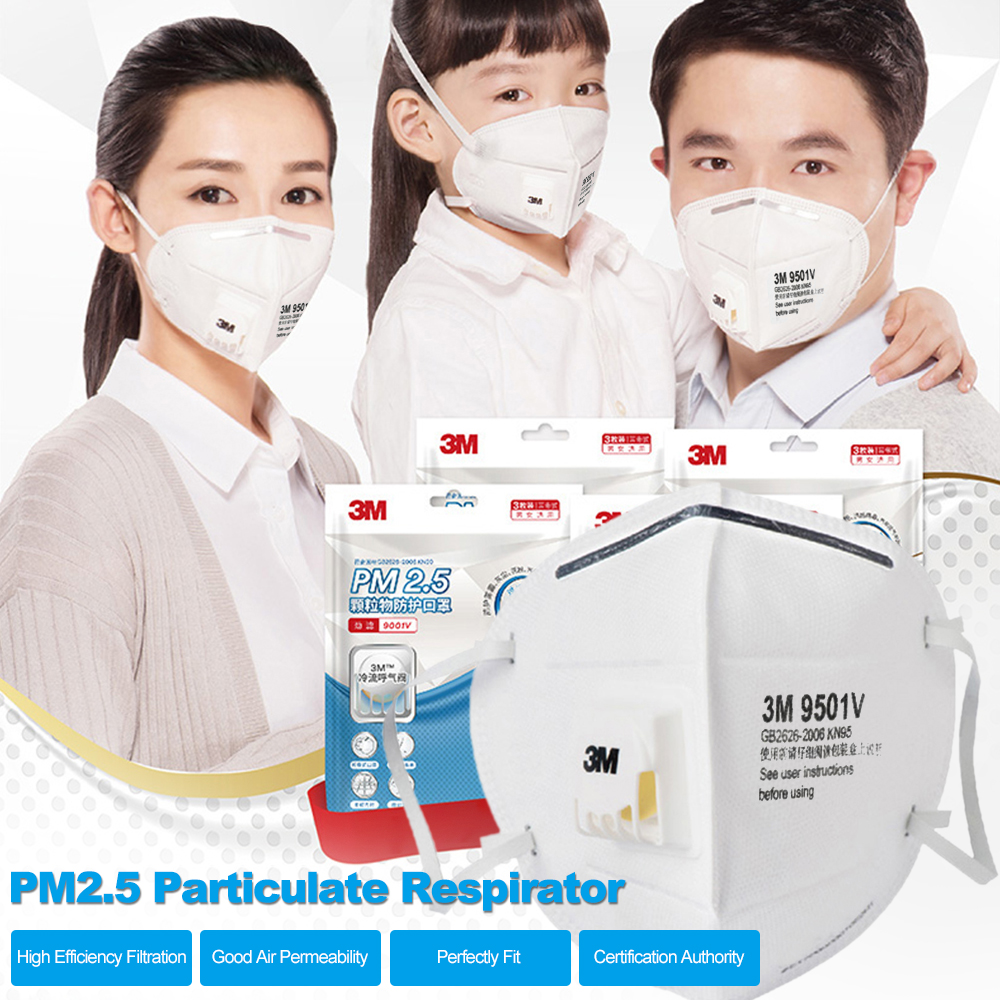 3Pcs/lot 3M 9501V Dust Mask KN95 Particulate Respirator Anti-fog PM2.5 Anti influenza Dust-proof Safety Breathing Masks(China)