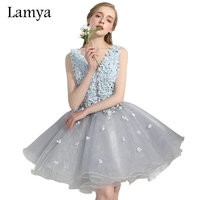 Lamya Sexy Illusion V Neck Short Ball Gown Evening Dresses For Pregnant Women 2017 Short Plus