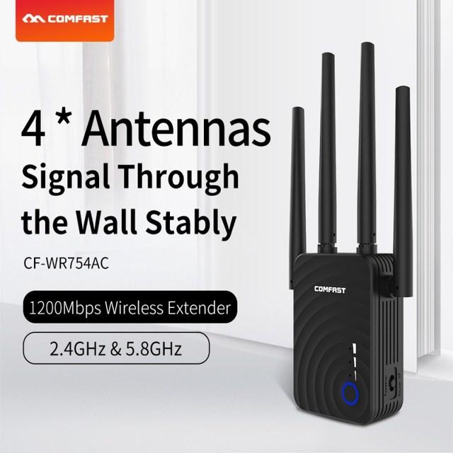 Двухдиапазонный повторитель Comfast, 1200 Мбит/с, 5 ГГц, 4 антенны