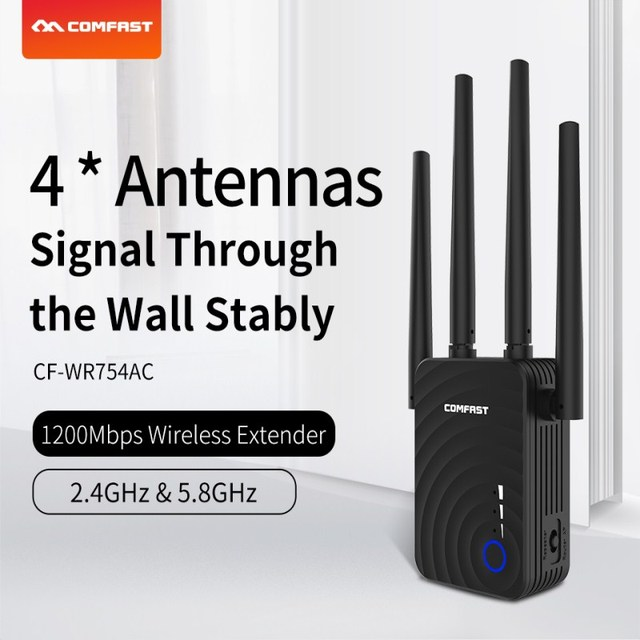 Comfast 1200Mbps dual band ac WiFi repeater 5Ghz Long Wifi Range Extender Booster Repetidor 4 antennas home wireless N router