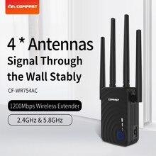 Comfast Repetidor WiFi de banda dual de 1200Mbps, extensor Wifi de largo rango de 5Ghz, potenciador, 4 antenas, enrutador inalámbrico para el hogar
