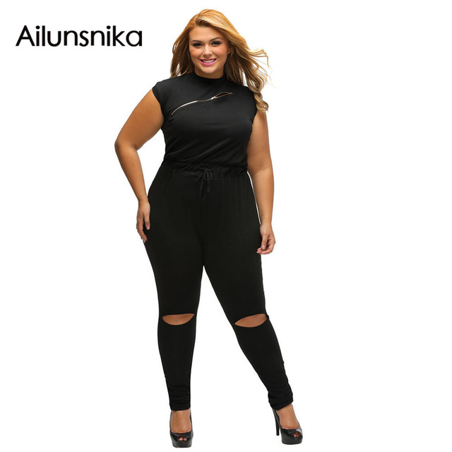 36b117c0ed38 2017 Women macacao feminino comprido casual Zip Line Black Stretchy Plus  Size Jumpsuit Long Pants Romper