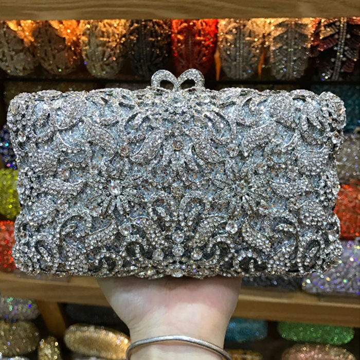 Luxury Crystal Women Evening Bag Fashion Diamond Rhinestone Wome Evening Bag Clutch Flower Pattern Wedding Party Shoulder Bag 2016 women fashion metallic rhinestone flower pattern crystal evening bag wedding bride clutch handbag