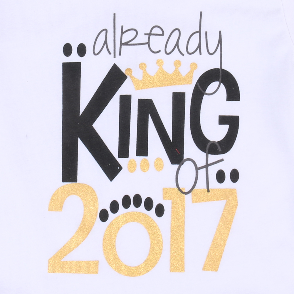 2017 Cotton Newborn Infant Baby Boys Girls Clothes Summer Short Sleeve Letter King 2017 Bodysuit Baby Clothes Outfits 0-18M