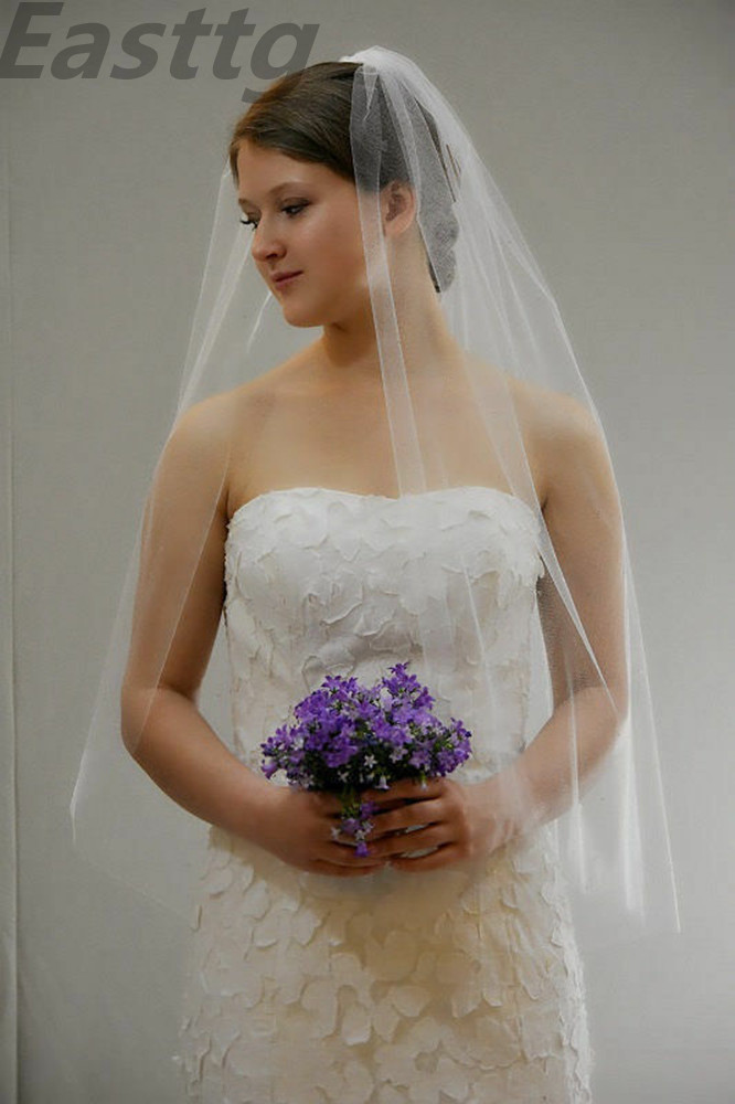 Veu De Noiva One Layer White Ivory Cut Edge Wedding Veil With Comb 30