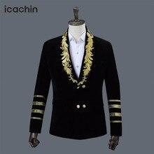Черный бархатный мужской блейзер Masculino куртки Мужская куртка с вышивкой бордовый Мужской Блейзер синий бархатный блейзер