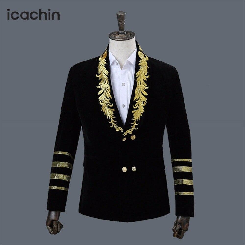 Black velvet mens blazer masculino jackets men embroidery