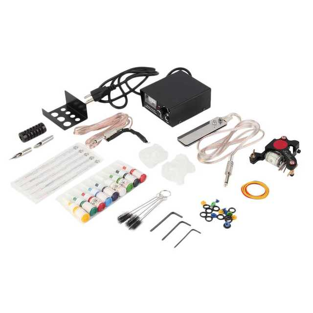 Complete Tattoo Kit 1 Machine Gun 9 Colors 5ml Ink Power Supply Needle Quality New Arrival