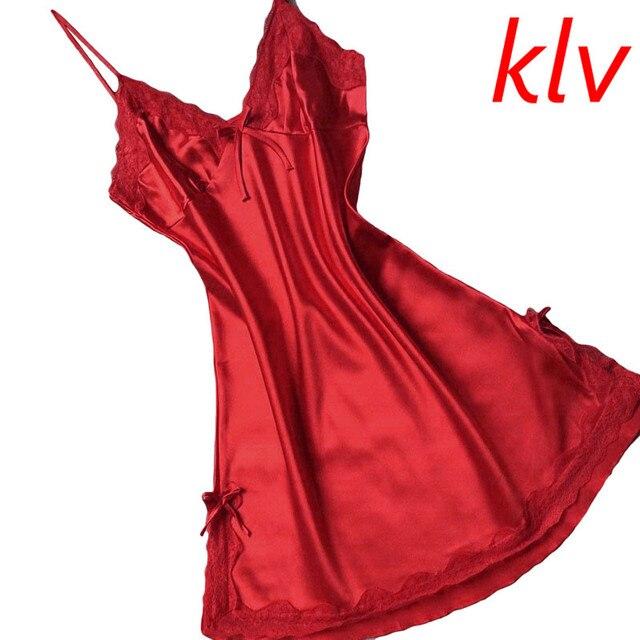 KLV Sommer Dame Sexy Silk Satin Nachtkleid Ärmelloses Nachthemden V ...