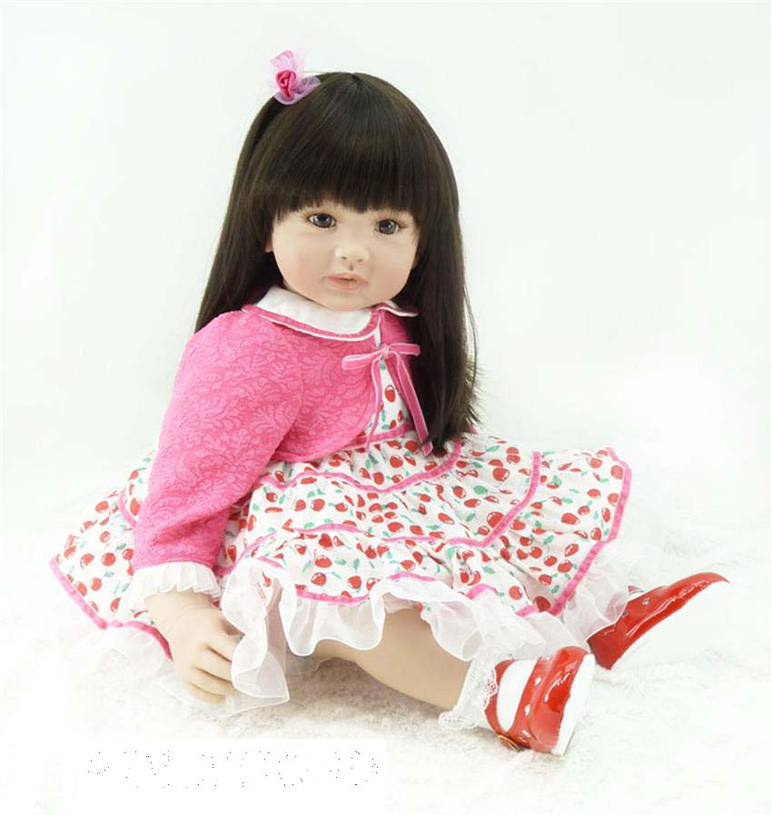 Pursue 24/60 cm Pink Dress Vinyl Silicone Reborn Baby Dolls Toddler Princess Girl Doll Toys for Children Girls Birthday Gift lifelike american 18 inches girl doll prices toy for children vinyl princess doll toys girl newest design