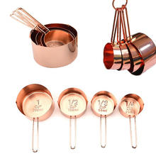 4Pcs Stainless Steel Measuring Cups Set Copper Plated Kitchen Tools For Baking Coffee Tea Pastry Cooking Tool