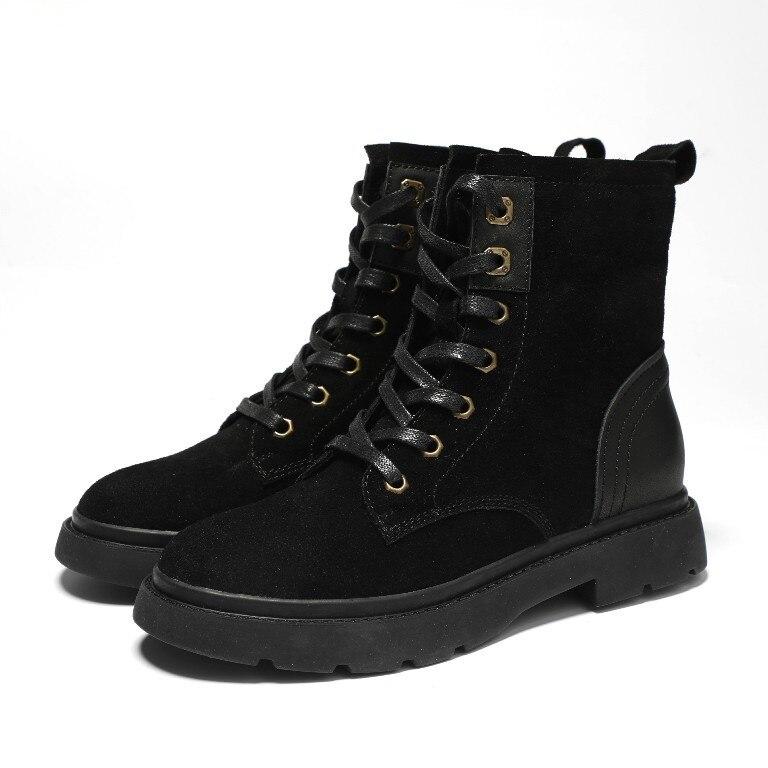 Botas Gruesa negro Cuero Otoño Mujeres Simple Suela Tubo Alto Retro Beige Moda Casuales 2018 Cómodos Martin Nueva Zapatos 7zfT4qqY
