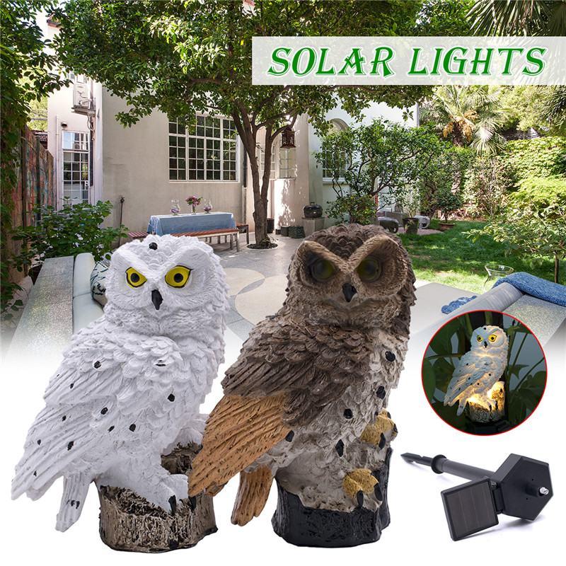 Firya LED Garden Owl Shape Solar Powered Night Lights Lawn Lamp Home Garden Creative Light Control Waterproof Outdoor Path Yard