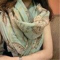 Moda Bandana Scarve Luxo Mulheres do Xaile do Lenço de Seda Da Marca de Impressão de Alta Qualidade Hijab Echarpe Foulard Femme