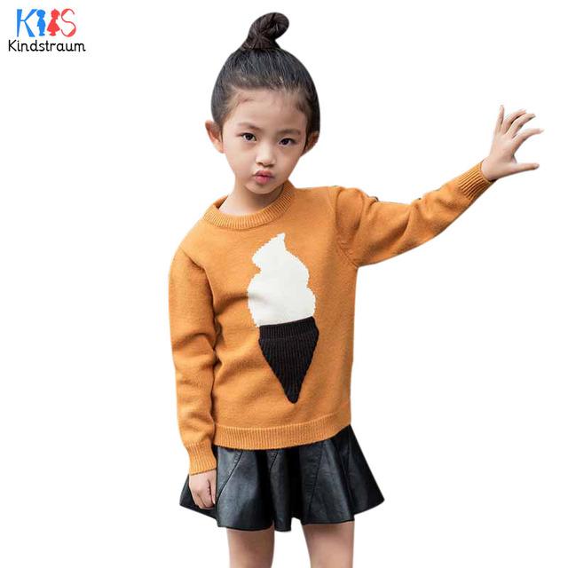 Kindstraum 2017 nova primavera & outono crianças ice cream camisola crianças de algodão roupas térmicas outerwear moda para meninas. rc1050