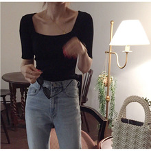 Early Spring New Slim and Slim Knitted Blouse Pullovers Square Collar Computer Knitted Black Sweater Women 2019