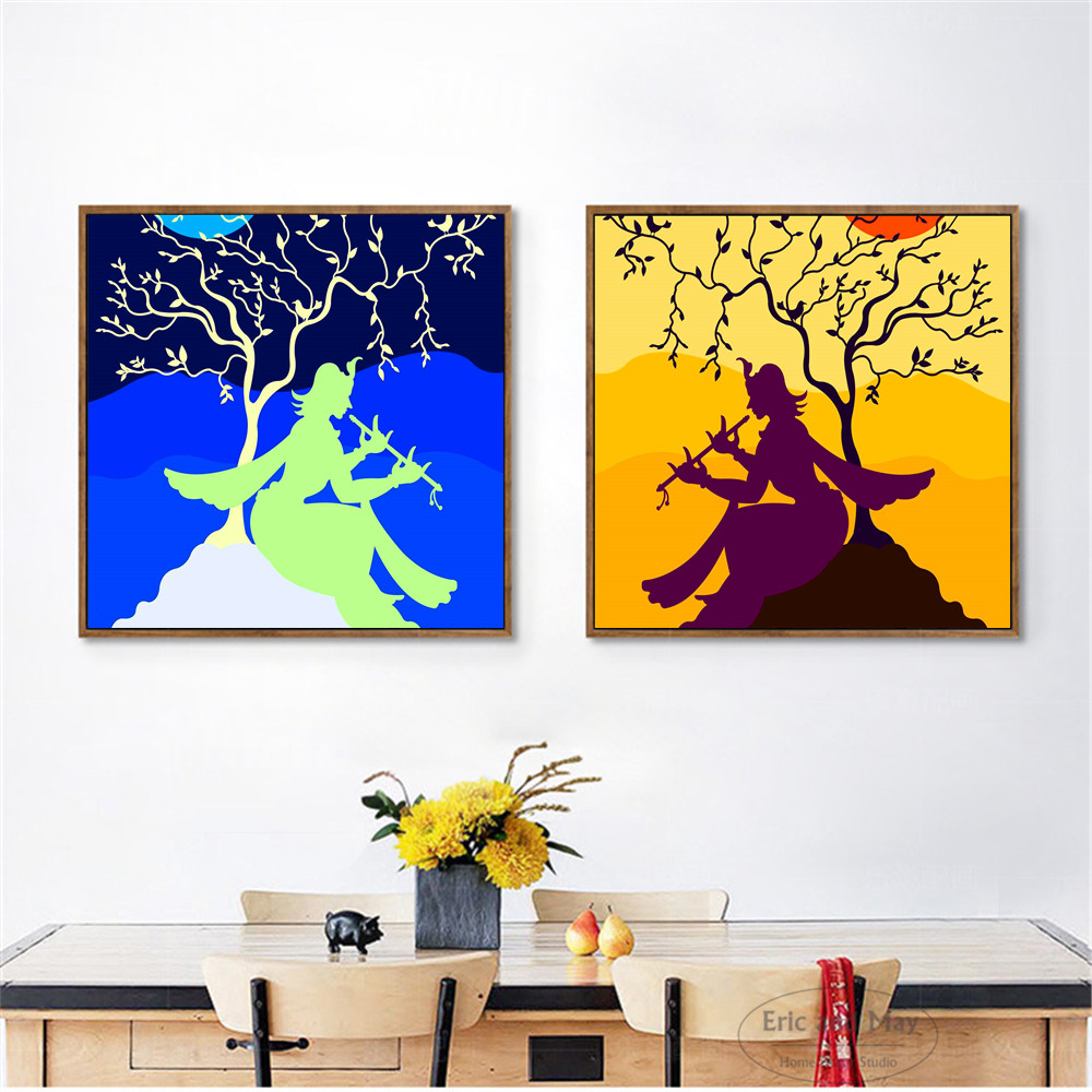 Flute Girl Krishna Artwork Canvas Art Print Painting Poster Wall Pictures For Living Room Home Decorative Bedroom Decor No Frame minimalist painting cute