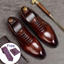 Phenkang/Мужская официальная обувь; мужские туфли-оксфорды из натуральной кожи; итальянская модельная обувь; коллекция года; свадебные туфли; Кожаные броги на шнурках