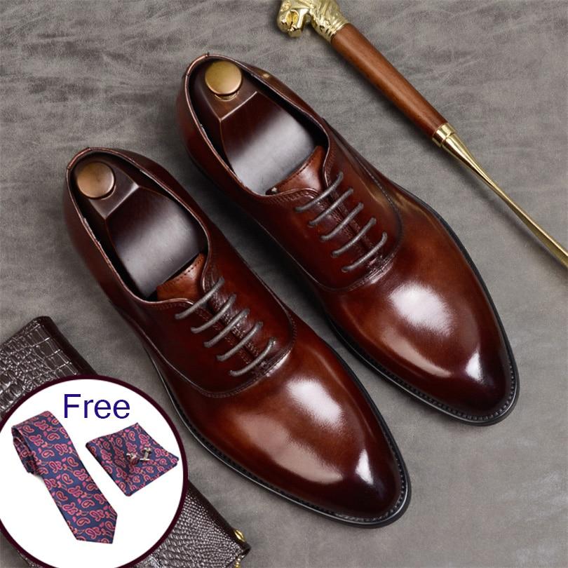 Phenkang hommes chaussures formelles en cuir véritable oxford chaussures pour hommes italien 2019 chaussures habillées chaussures de mariage lacets en cuir richelieu