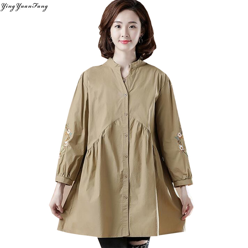 YingYuanFang Fashion autumn new women's beautiful temperament loose thin belly covered long embroidered shirt