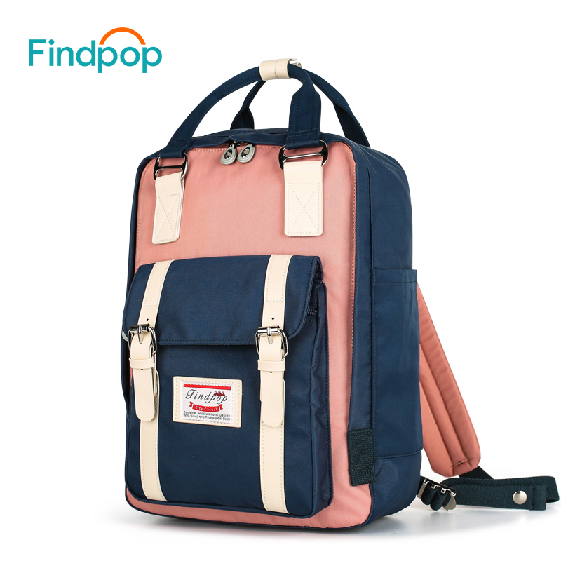 f6a31fea2323 Findpop Patchwork Backpack Women Large Capacity Waterproof Backpack Bags  For Women 2018 Fashion Vintage Kanken Backpack